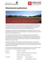 Wochenend-Laufseminar - Tempo-Sport AG