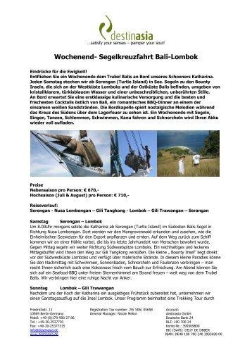 Wochenend- Segelkreuzfahrt Bali-Lombok - Destinasia GmbH