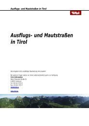 Ausflugs- und Mautstraßen in Tirol - Tiscover