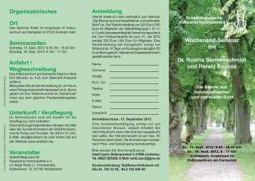 Anmeldung Wochenend-Seminar mit Dr. Rosina Sonnenschmidt ...