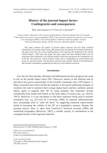 History of the journal impact factor: Contingencies and consequences