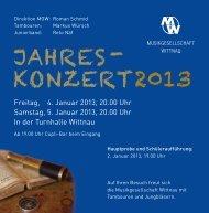 JAHRES- KONZERT2013 - Musikgesellschaft Wittnau