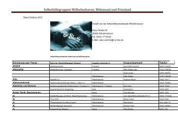 Selbsthilfegruppen Wilhelmshaven, Wittmund und Friesland