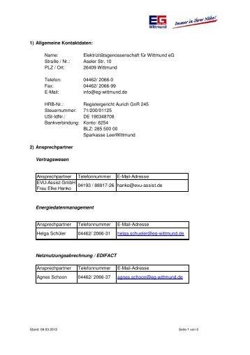 Kommunikationsdatenblatt EG Wittmund_01.04.2012 - Ihre ...