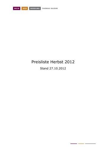 Preisliste Herbst 2012 - wein web werbung