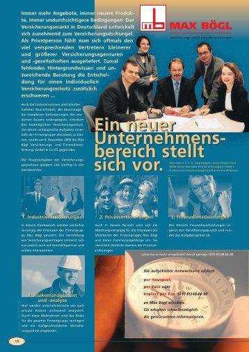 maxboeglich_-_Ausgabe_Fruehjahr_2001 - Max Bögl Versicherungs