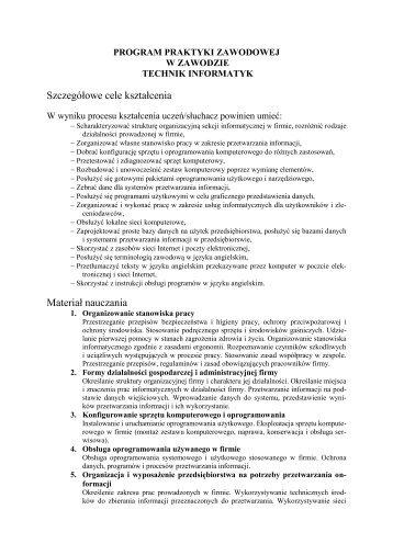Program Praktyk Zawodowych dla technika informatyka