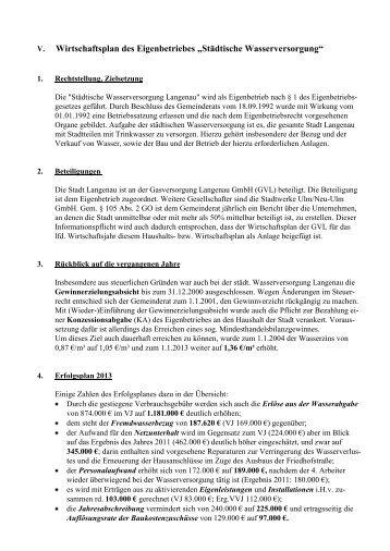 Teil 7: Wirtschaftsplan der städtischen ... - Stadt Langenau