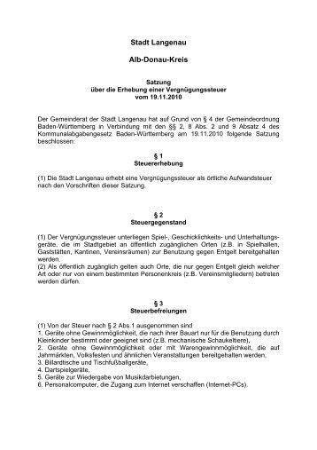 Satzung über die Erhebnung einer ... - Stadt Langenau