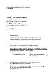 Tagesordnung - Landtag Mecklenburg Vorpommern