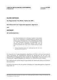KLEINE ANFRAGE ANTWORT - Landtag Mecklenburg Vorpommern