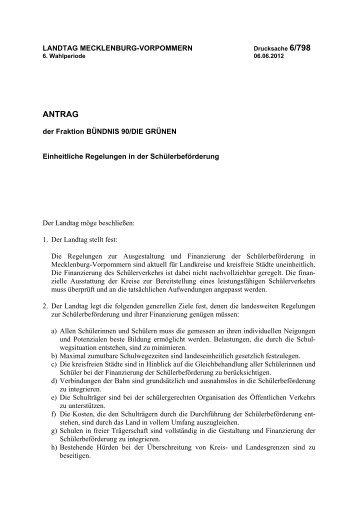 Drucksache 6/798 - Landtag Mecklenburg Vorpommern