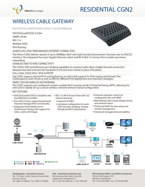 Wireless cable gateway - Hitron Technologies Americas Inc