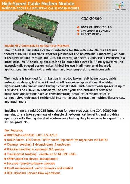 High-Speed Cable Modem Module - Hitron Technologies