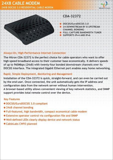 24X8 CABLE MODEM - Hitron Technologies