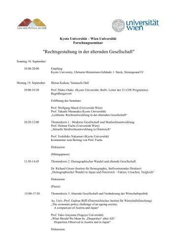 Programm Forschungsseminar - of Univ.-Prof. Mag. Dr. Gudrun Biffl