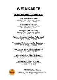 WEISSWEIN Österreich - Gasthof Mayrhuber