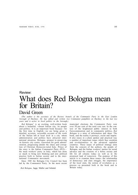 What does Red Bologna mean for Britain?