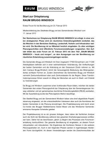 Einladung zum öffentlichen Forum - Raum Brugg Windisch