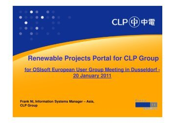 Renewable Projects Portal for CLP Group - OSIsoft