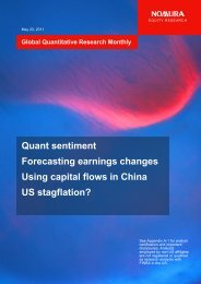 Global Quantative Research Monthly - Nomura