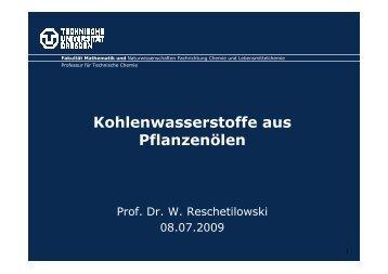 Kohlenwasserstoffe aus Pflanzenölen Prof. Dr. Wladimir ... - biorefinica