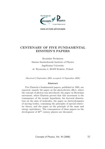 centenary of five fundamental einstein's papers - Department of ...