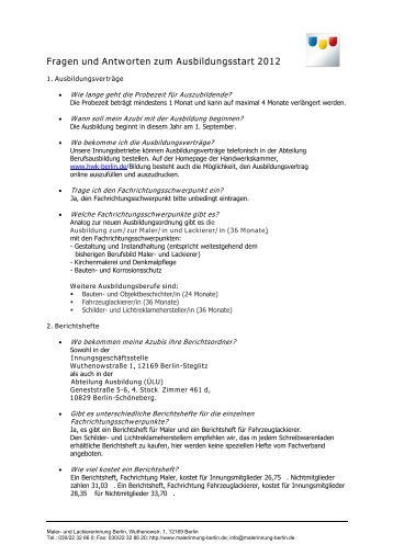 Fragen und Antworten zum Ausbildungsstart 2012 - Maler- und ...