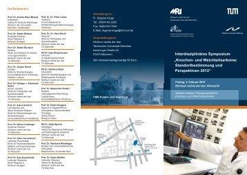 """Interdisziplinäres Symposium """"Knochen- und Weichteilsarkome ..."""