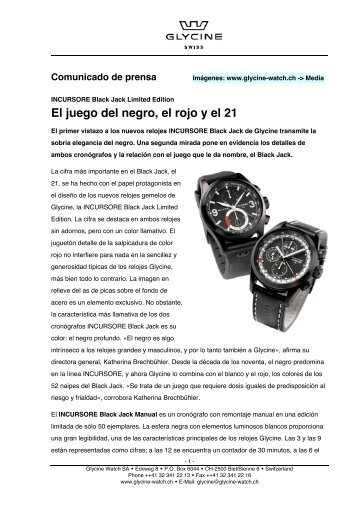 El juego del negro, el rojo y el 21 - Glycine Watch SA