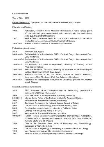 curriculum vitae year of birth 1961 research ist austria