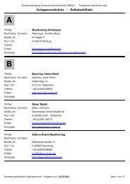 Verlagsverzeichnis - Selbstwahlliste - BDMV