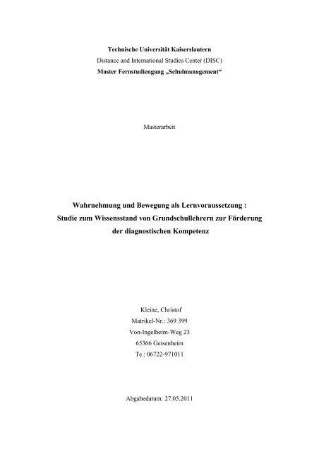Wahrnehmung und Bewegung als Lernvoraussetzung : Studie zum ...