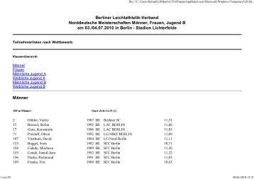 Berliner Leichtathletik-Verband Norddeutsche Meisterschaften ...