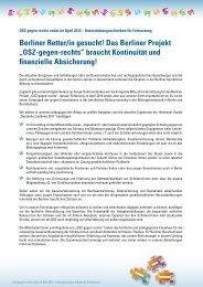 """Das Berliner Projekt """"OSZ-gegen-rechts"""" braucht Kontinuität und ..."""