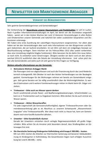 newsletter der marktgemeinde ardagger vorwort des bürgermeisters
