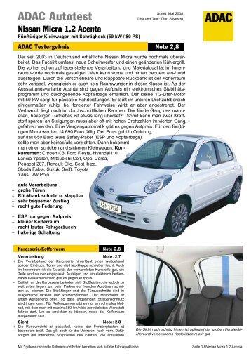 Umfassender Test Nissan Micra 1.2 Acenta - ADAC