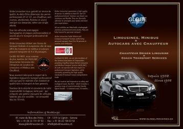 Limousines, Minibus Autocars avec Chauffeur - Globe Limousines