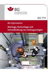 BGI 779 Montage, Demontage und Instandhaltung von ... - BGHM