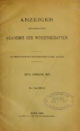 Anzeiger der Kaiserlichen Akademie der Wissenschaften ...