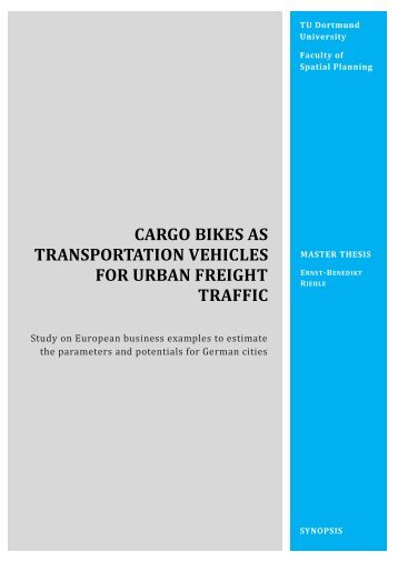 cargo bikes as transportation vehicles for urban freight traffic