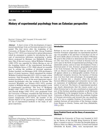 the rise of experimental psychology history History of psychology  in which for the first time he used the term experimental psychology  played a role in the rise of the field of clinical psychology.