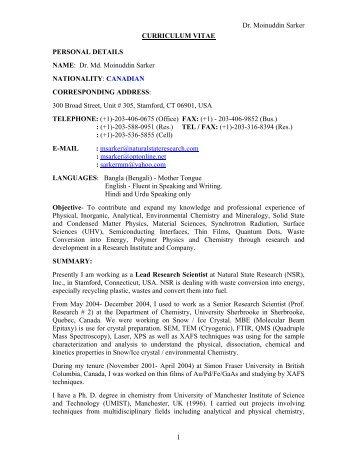 Resume of Dr. Mylswamy Annadurai