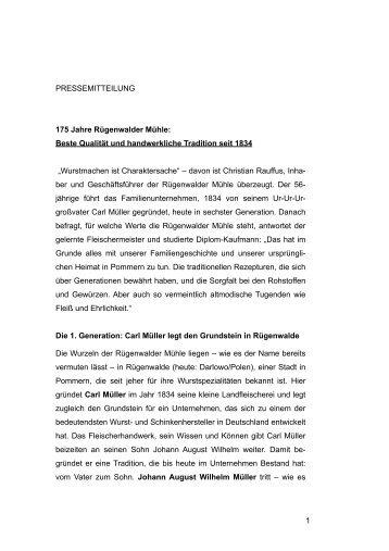 Beste Qualität und handwerkliche Tradition seit 1834 - Rügenwalder