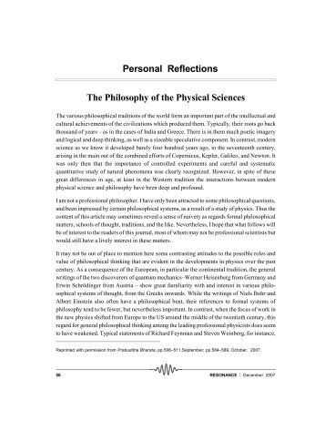 Personal Reflections The Philosophy of the Physical Sciences