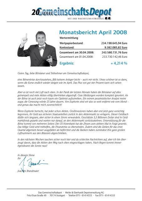Monatsbericht April 2008 - Börse Aktuell