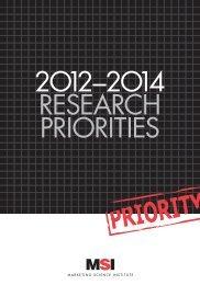 MSI Research Priorities 2012-2014 - Marketing Science Institute