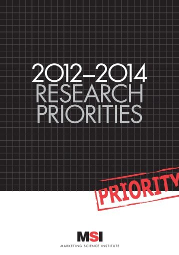MSI Research Priorities 2012-2014 - Marketing Science Institute