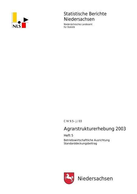 Heft 5 - Betriebswirtschaftliche Ausrichtung ... - Niedersachsen