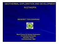 GEOTHERMAL EXPLORATION AND DEVELOPMENT IN ETHIOPIA